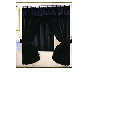 DOUBLE SWAG FABRIC SHOWER CURTAIN AND VINYL SHOWER LINER   BLACK