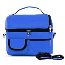 Doshop Thicken Insulated Cooler Bag Expandable Ice Pack School Work Lunch Box Kids Infant Baby Milk Bottle Fresh Bag Lunch Pouch Picnic Food Carry Bag Tote with Shoulder Strap (Blue)
