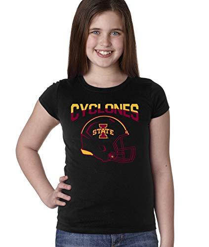 CornBorn Iowa State Cyclones Youth Girls Tee Shirt - ISU Cyclones Football Helmet - Black - -