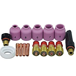 TIG Welding Torches Stubby Gas Lens Collets Alumina Nozzles Back Cap Kit For SR WP 17 18 26 Series 16pcs by RIVERWELDstore