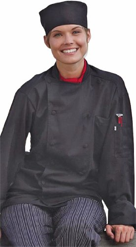Uncommon Threads Unisex-Adults Plus Size Barbados Chef Coat, Black, 4XL