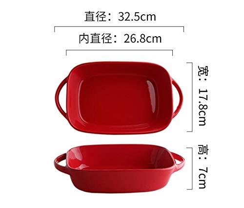 Recipiente para hornear Tazón de cerámica rojo de doble oreja ...
