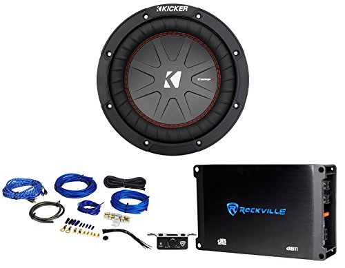 Kicker 43CWR84 COMPR8 600w 8″ DVC Car Audio Subwoofer Sub+Mono Amplifier+Amp Kit