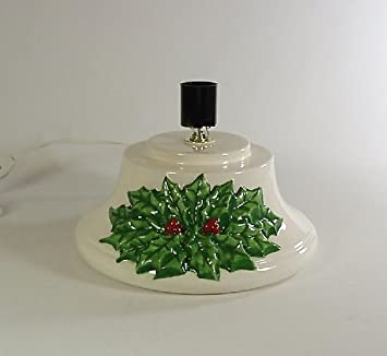 replacement ceramic christmas tree base hand painted holly by kilnmenow - Christmas Tree Base