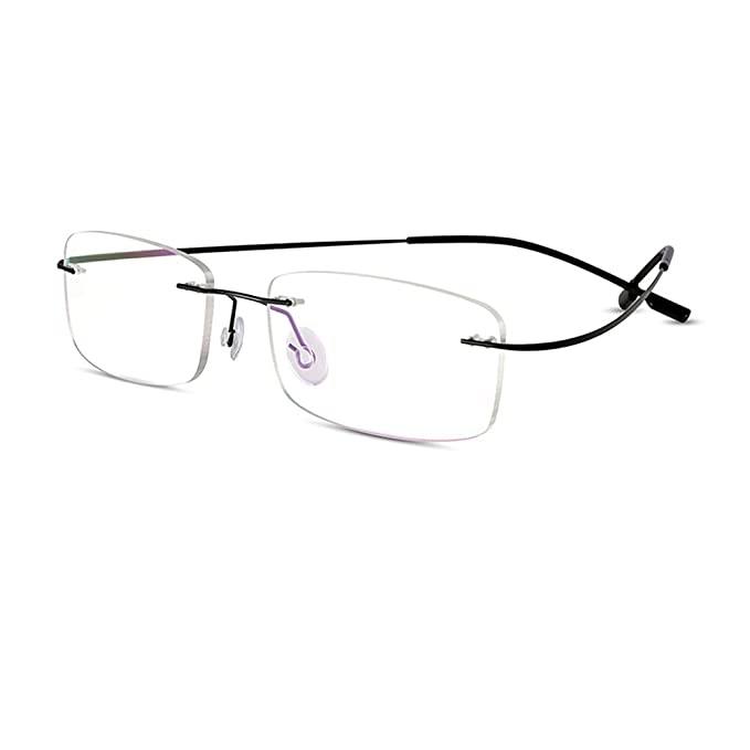 7d8a67be6c5d Bertha Titanium Alloy Flexible Lightweight Rimless Frame Prescription  Eyeglasses 105 (Black)