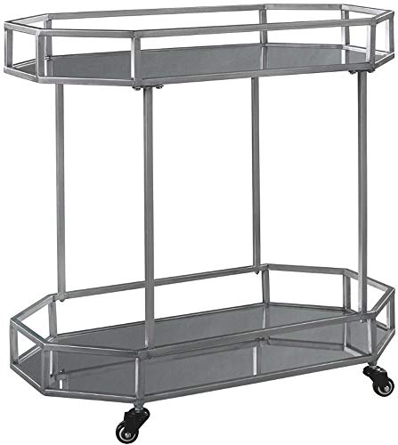 Ashley Furniture Signature Design - Kadinburg Bar Cart - Contemporary Chic - Silver Finish (Chic Furniture)