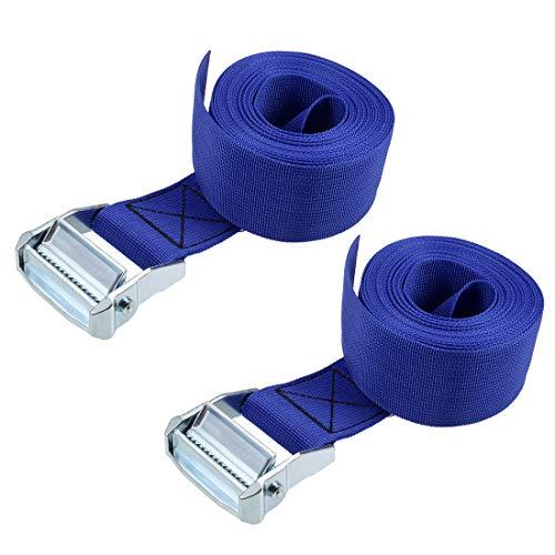 uxcell 荷物ストラップ ラッシングストラップ ベルト 荷物固定ロープ 荷物落下防止 4.5Mx5cm 500Kg ブルー タイダウンストラップ 2個入り