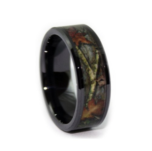 #1 Camo Bevel Ceramic Black Rings - Black Camouflage Wedding Bands - Ring Size 7