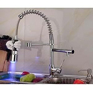 SKT contemporáneo cromado pull-Rociador LED grifo de la cocina con cambio de Color 3