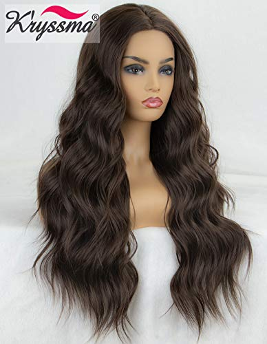 K'ryssma Long Wavy Lace Front Wigs Dark Brown Natural Looking Middle Parting Glueless Heat Resistant Brown Synthetic Wig for Women 22 inches