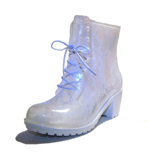 DripDrop High Heel Rain Boots, White Lace, Sz 41 EU / 9.5 US