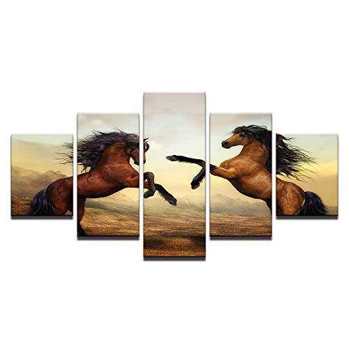 WJNKGHG Leinwand Gemälde Wohnkultur Wandkunst Rahmen 5 Stücke Sonnenuntergang Brown Horses Bilder Für Wohnzimmer HD Druckt Tier Poster (Brown-rahmen)