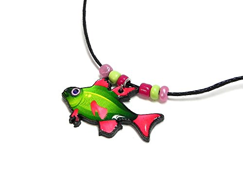 (Mia Jewel Shop Fish Tropical Sea Animal Pendant Beaded Necklace (Lime-Green/Hot-Pink))