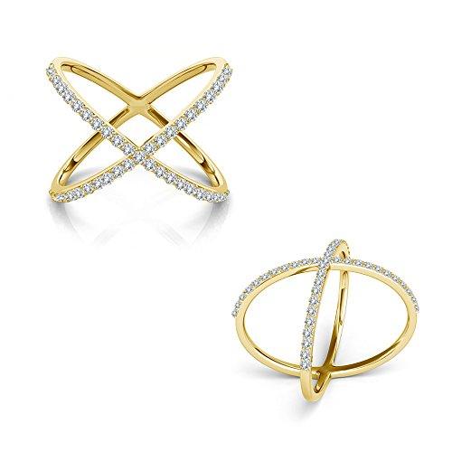 (0.50 Carat G-H Diamond Fancy Double Circle Engagement Wedding Bridal Women Ring 14K Yellow Gold)