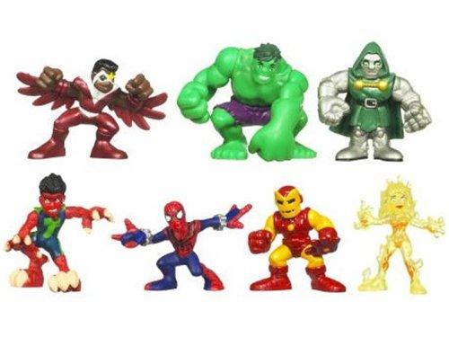 Iron Man Doom Hasbro HMV30539 SpiderMan Doom Volcana Hulk Dr Marvel Superhero Squad Mini Figure 7Pack Defeat of Dr Reptil Falcon