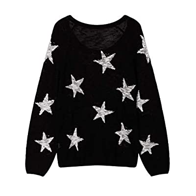 COCOLEGGINGS Women's Boat V Neck Long Sleeve Star Pullover Sweater Tunic Tops at Women's Clothing store