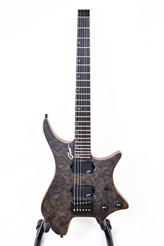 Grote Headless Electric Guitar Veneer Burl Wood Top Gloss Finish (Black)