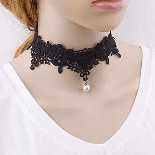 ZUXIANWANG White Collar De Encaje Negro Mujeres Flor Collares De ...