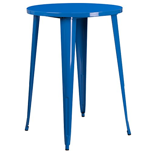 (Flash Furniture 30'' Round Blue Metal Indoor-Outdoor Bar Height Table )