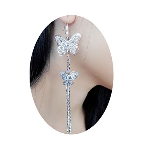 Lovely Double Butterfly Crystal Long Tassel Dangle Earrings for Women Girl Fashion Jewelry Accessories (Silver)