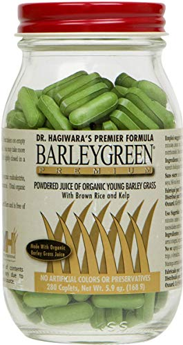 Barley Green Caplets - Capsules with Non-GMO, Glutan Free and Certified Organic-Total Nutrition Maximum Energy Greens with Antioxidants, Chlorella, Chlorophyll, Enzymes and More-280 Caplets (6 Pack) ()