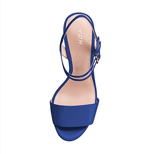 Toe Peep Heel Platform High Ankle Shoes Blue Women Sandals YDN Slingback Wedge Pumps Straps ZwqFAgEx