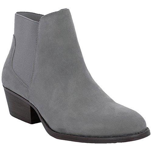Saphir Boutique Damen elastisch niedrig Block Klobiger Absatz Kunstwildleder Chelsea Stiefeletten Grau