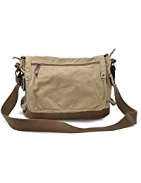 Vintage Canvas Messenger Bag Classic Cross-body Shoulder Bag, Khaki