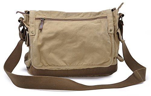 Gootium Canvas Messenger Bag - Vintage Cross Body Shoulder Satchel, Khaki