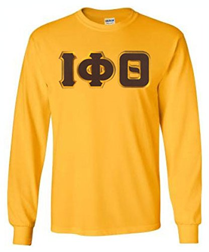 Greekgear Iota Phi Theta Lettered Long Sleeve Large Athletic Gold