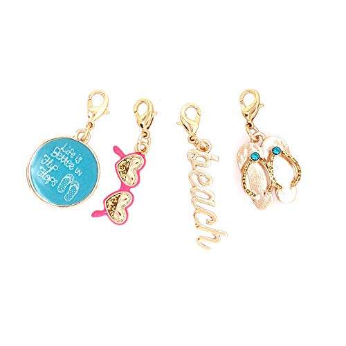 Jewelry Made By Me Coastal Gold Beach, Sentiment, Flip Flops, Sunglasses Charms -
