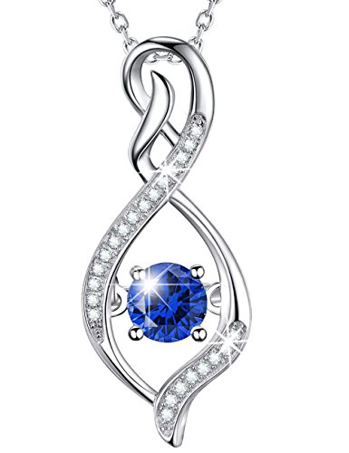 (Necklace Infinity Endless Love Pendant Blue Sapphire September Birthstone Necklace Sterling Silver Jewelry for Women Mom Wife Girls Anniversary Gifts for Her)