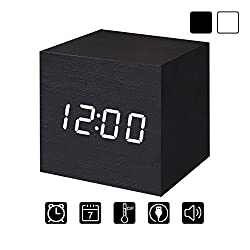 Digital Alarm Clock Wooden LED Light Multifunctional Modern Cube Displays Date Temperature for Home Office Travel-Black