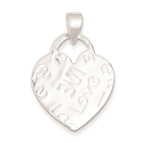 925 Sterling Silver Rhodium-plated Polished & Textured Embossed Love Heart Charm Pendant
