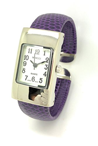 Ladies Small Rectangle Snakeskin Leather Bangle Cuff Watch White Dial Wincci (Purple)