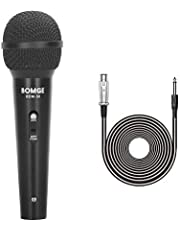 BOMGE Micrófono cardioide de metal dinámico, micrófono vocal con cable con cable de audio XLR de 6,35 mm, compatible con mezclador/amplificador/tarjeta de sonido/altavoces/DVD para habla, KTV Singing