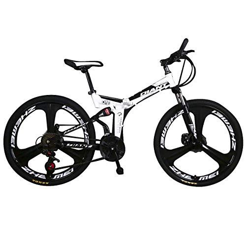 EGO TECHNOLOGY Bicicleta Plegable 26´ Doble Suspension Shimano Montaña Ciclismo de Montaña (Blanco)