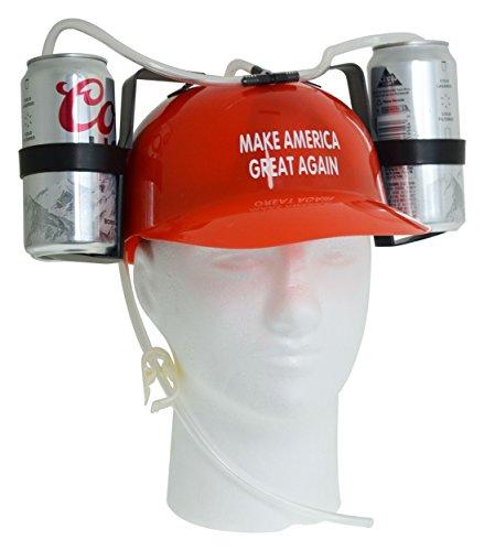 Fairly Odd Novelties Beer Soda Guzzler Helmet Make America Great Again-Donald Trump, Red - Beer Hat