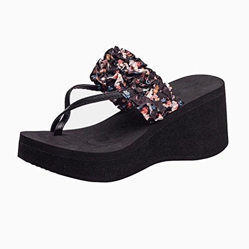 Negro con gruesa Moda Ropa Sandalias Amarillo mujer de Amarillo de verano Color Ropa NAN de Plegado EU36 CN36 UK4 antideslizante Tamaño Verde playa Zapatos Zapatillas de suela abrigo Negro qqa8wxf6