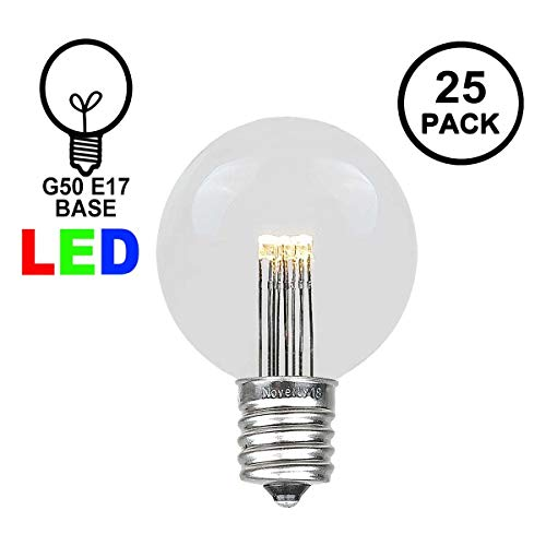 Novelty Lights 25 Pack LED G50 Outdoor Patio Globe Replacement Bulbs, Warm White, E17/C9 Base, 1 Watt]()