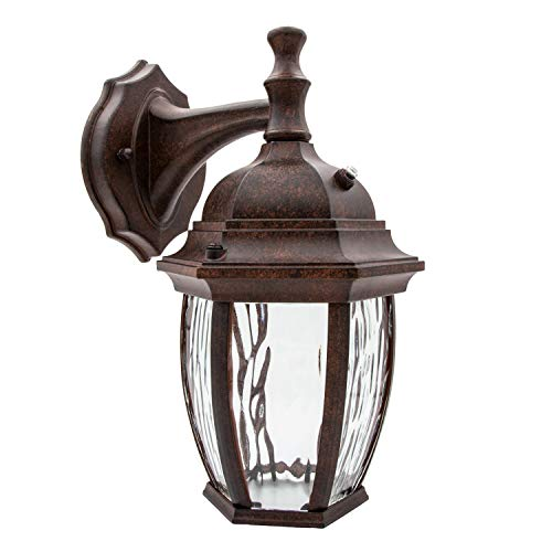 - Maxxima LED Outdoor Wall Light, Aged Bronze w/Clear Water Glass, Photocell Sensor, 580 Lumens, 3000K Warm White, Dusk to Dawn Light Sensor, Brown