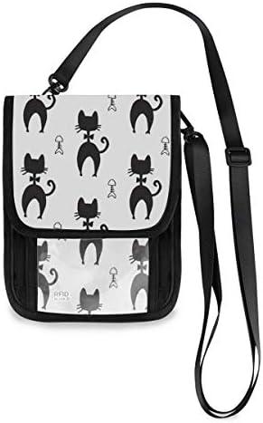 トラベルウォレット ミニ ネックポーチトラベルポーチ ポータブル ネコ柄 猫柄 アニマル柄 小さな財布 斜めのパッケージ 首ひも調節可能 ネックポーチ スキミング防止 男女兼用 トラベルポーチ カードケース