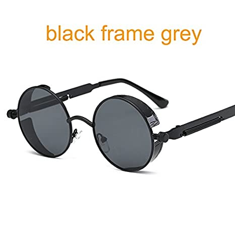 a0cecf224 QiHorr(TM) Gothic Steampunk Round Metal Sunglasses for Men Women Mirrored  Circle Sun glasses