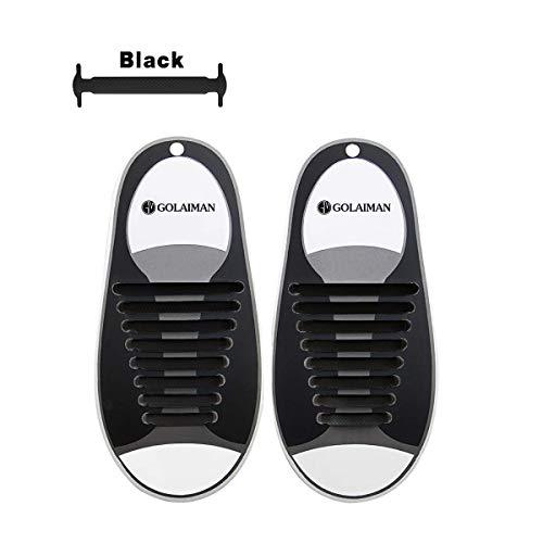 GOLAIMAN No Tie Shoelace Elastic Silicone Sneaker Laces Flat Athletic Shoelaces 5 Colors-Black