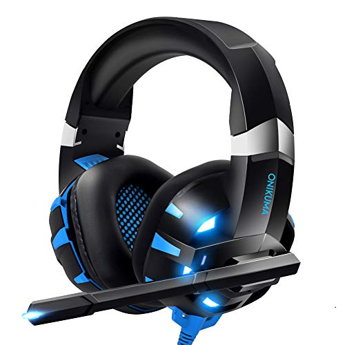 RUNMUS Gaming Headset Xbox One Headset with 7.1 Surround Sound Stereo, PS4 Headset with Noise Canceling Mic & LED Light, Compatible with PC, PS4, Xbox One Controller(Adapter Not Included) (Best Noise Cancelling Gaming Headset)