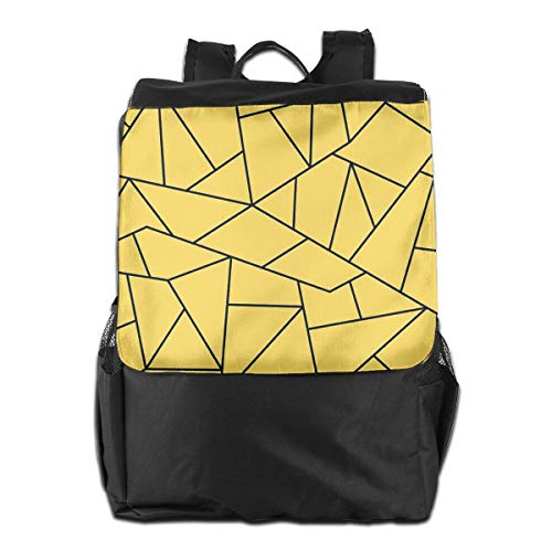 (Oximing Mustard Yellow Black Mosaic Lines Small Travel Backpack Foldable Camping Outdoor Bag£¬suitable For Mountaineering, Outing, Tourism For Women And Men)