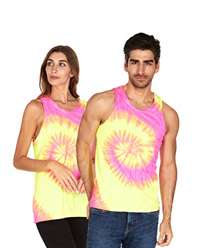 Tie Dye Tank Top Men Women - Fun Bright Colotful Tops, Fluorescent Swirl, Medium