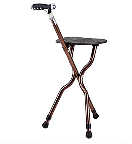G&M Adjustable Folding Walking Cane Chair Stool Massage Walking Stick with Seat Portable Fishing Rest Stool with LED Light for Elder (Portable Walking Stick)
