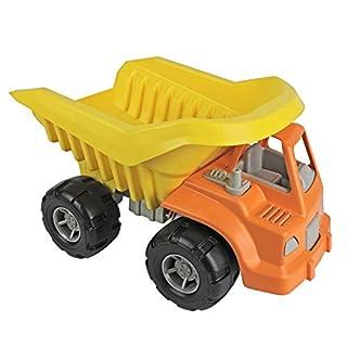 TimMee Big Plastic Dump Truck Orange Cab & Yellow Dump 15in USA Made