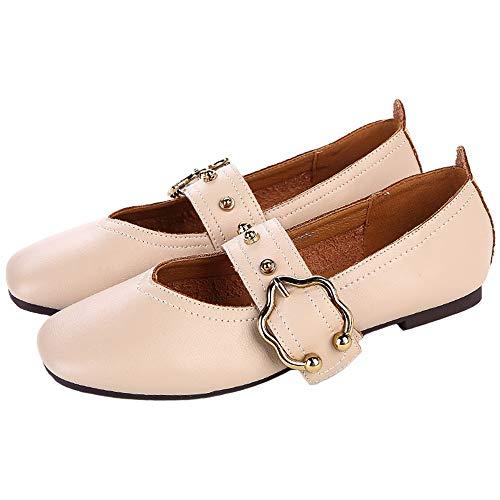 FLYRCX Zapatos Planos de Trabajo cómodos Antideslizantes de la Moda de Cuero Suave Retro cómodos Zapatos de Trabajo de Maternidad, 40 UE 39 EU